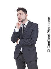 homem negócios, pensando