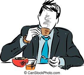 homem negócios, pequeno almoço, comer, ilustração
