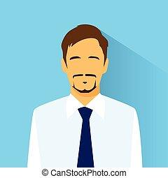 homem negócios, perfil, ícone, macho, retrato, apartamento