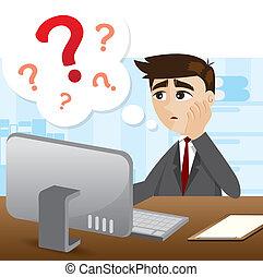 homem negócios, pergunta, caricatura, marca