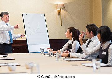 homem negócios, pergunta respondendo, durante, apresentação