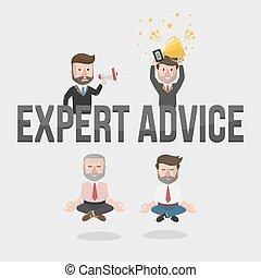 homem negócios, perito, conselho, illustrat