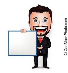 homem negócios, personagem, caricatura, 3d