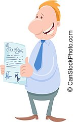 homem negócios, personagem, caricatura, contrato