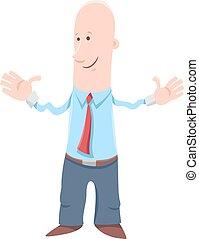 homem negócios, personagem, caricatura, engraçado