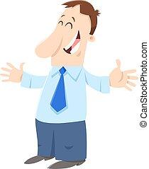 homem negócios, personagem, caricatura, feliz