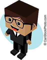 homem negócios, personagem, caricatura