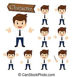 homem negócios, personagem, jogo, vetorial, ilustração