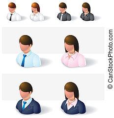 homem negócios, :, pessoas, ícones