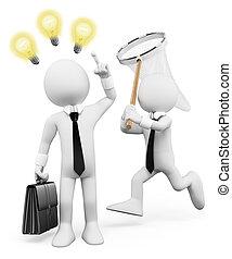 homem negócios, pessoas., branca, idéias, roubando, 3d, inspiração