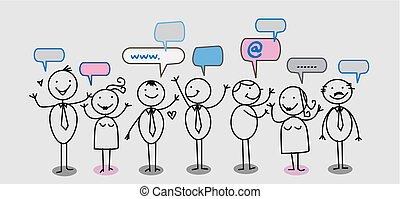 homem negócios, pessoas, social, rede