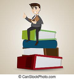 homem negócios, pilha, livro, caricatura, leitura