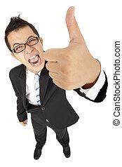 homem negócios, polegar cima, asiático