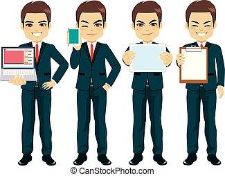 homem negócios, poses, personagem, trabalhando