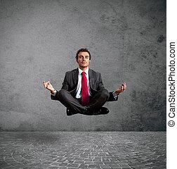 homem negócios, prática, ioga