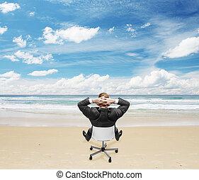 homem negócios, praia, sentando