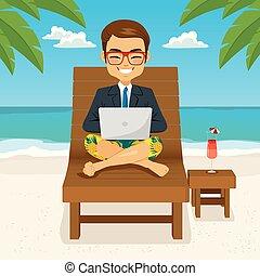 homem negócios, praia, trabalhando