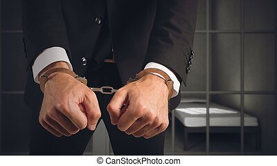 homem negócios, preso