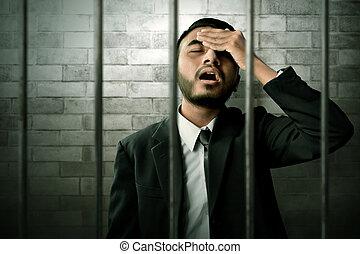 homem negócios, prisão