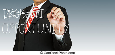 homem negócios, problema, oportunidade, elimine