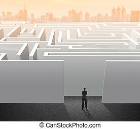 homem negócios, problema, solução, labirinto, levantar