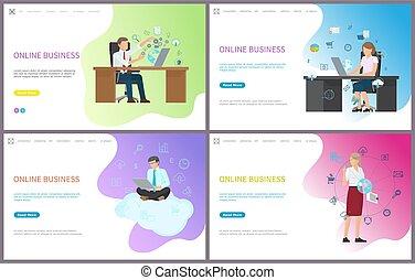 homem negócios, problemas resolvendo, online, negócio
