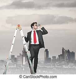 homem negócios, procurar, negócio