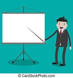 homem negócios, projetor, screen.