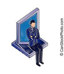 homem negócios, proteção, escudo, sentando