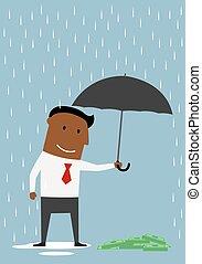 homem negócios, protegendo, dinheiro, com, guarda-chuva
