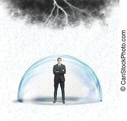 homem negócios, protegido, de, a, crise