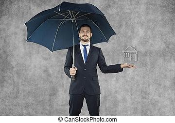 homem negócios, proteja, seu, lar