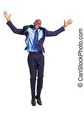 homem negócios, pular, feliz, africano