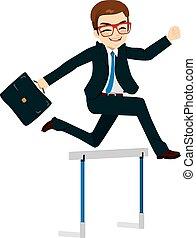 homem negócios, pular, obstáculo