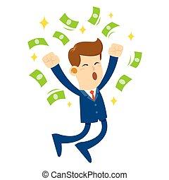 homem negócios, pule, alegria, e, cercado, por, dinheiro