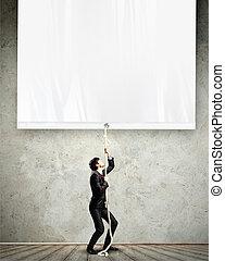 homem negócios, puxando, bandeira, em branco