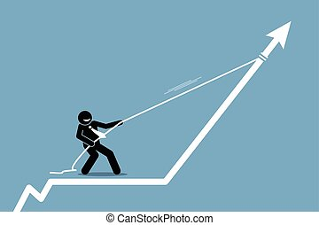 homem negócios, puxando, seta, gráfico, mapa, cima, com, um, rope.