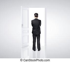homem negócios, quarto branco