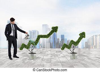 homem negócios, que, aguando, um, planta, com, um, forma, de, arrow., conceito, de, crescendo, de, companhia, economia, .