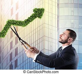 homem negócios, que, cortes, e, ajusta, um, planta, dado forma, semelhante, um, seta, stats., conceito, de, startup, companhia, ., 3d, fazendo