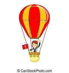 homem negócios, quentes, balloon, ar