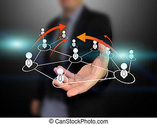 homem negócios, rede, segurando, social