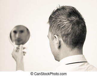 homem negócios, refletir, lokking, espelho