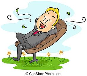 homem negócios, relaxante