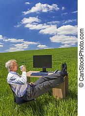 homem negócios, relaxante, café bebendo, chá, campo verde, escrivaninha