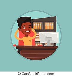 homem negócios, relaxante, em, escritório, vetorial, ilustração