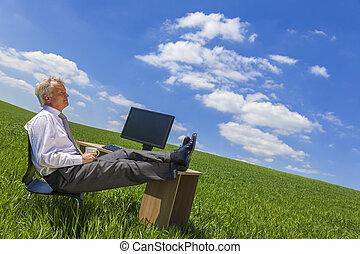 homem negócios, relaxante, pensando, escrivaninha, em, campo verde