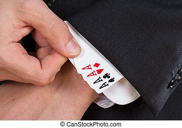 homem negócios, removendo, ás, cartões, de, manga