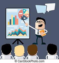 homem negócios, reunião, apontar, apresentação