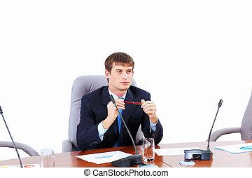 homem negócios, reunião